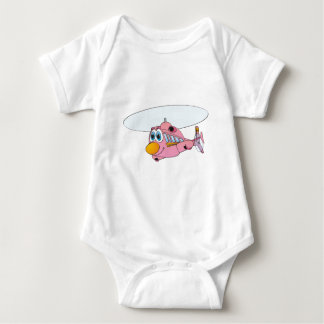 Pink Helicopter Cartoon Baby Bodysuit