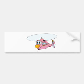 Pink Helicopter Cartoon Bumper Sticker