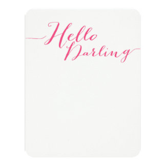 Pink Hello Darling Flat Note Cards 11 Cm X 14 Cm Invitation Card