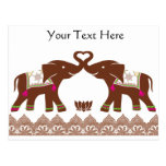 Pink Henna Love Elephants Postcards
