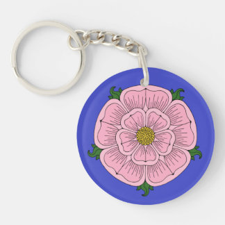 Pink Heraldic Rose Acrylic Keychain