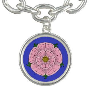 Pink Heraldic Rose Charm Bracelet