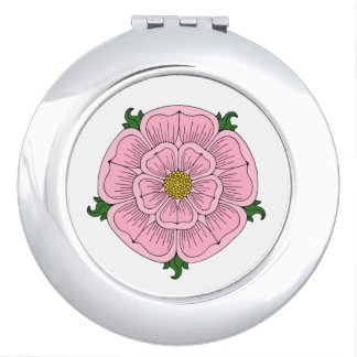 Pink Heraldic Rose Compact Mirror