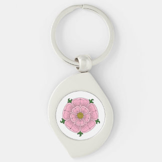 Pink Heraldic Rose Metal Keychain