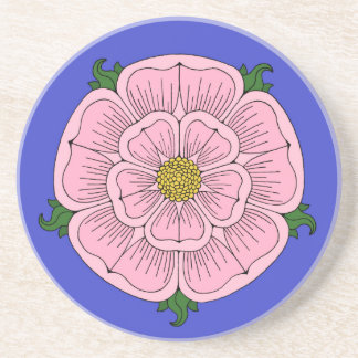 Pink Heraldic Rose Sandstone Coaster