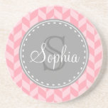 Pink Herringbone Chevron Grey Monogram Drink Coaster