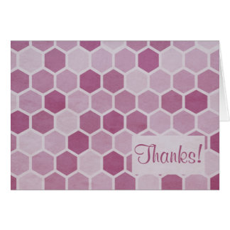 Pink Hexagons Thank You Note Note Card