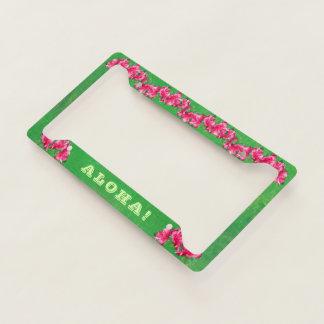 Pink Hibiscus Aloha Licence Plate Frame