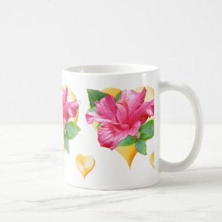 Pink Hibiscus and Hearts Mug