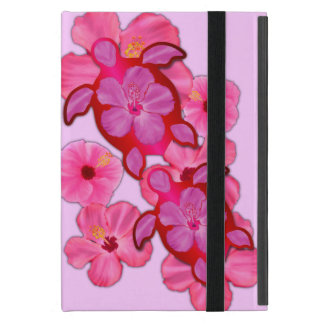 Pink Hibiscus And Honu Turtles Cover For iPad Mini