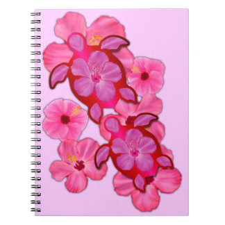 Pink Hibiscus And Honu Turtles Spiral Notebooks