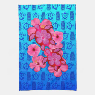 Pink Hibiscus And Honu Turtles Tea Towel