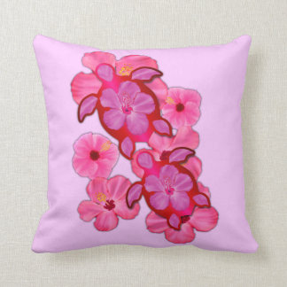 Pink Hibiscus And Honu Turtles Throw Pillow
