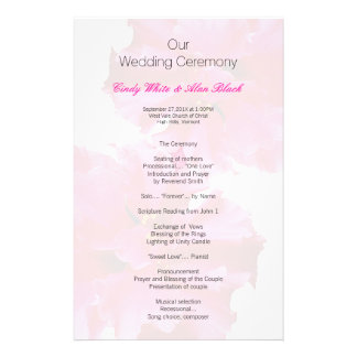 Pink Hibiscus Beach Wedding Program Template Full Color Flyer