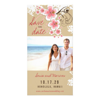 Pink Hibiscus Beach Wedding Save The Date Card