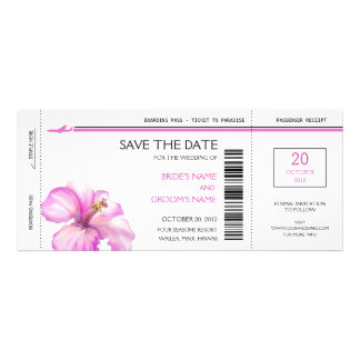 Pink Hibiscus Boarding Pass Save the Date Cards