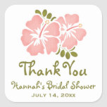 Pink Hibiscus Bridal Shower Favour Stickers Labels