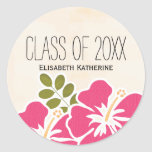 Pink Hibiscus Class of Hawaiian Graduation Party Round Sticker