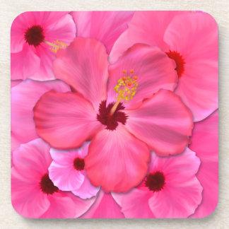 Pink Hibiscus Drink Coaster