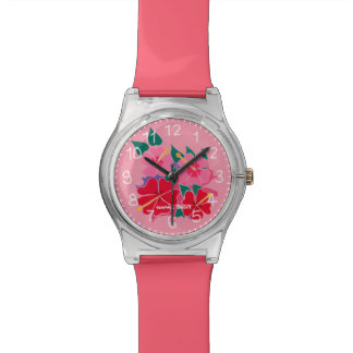 Pink hibiscus designed watch by Joanne Short