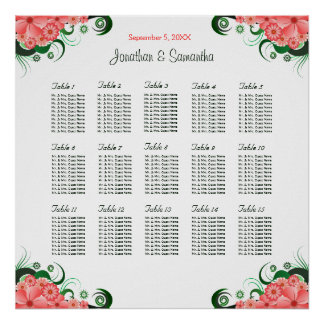 Pink Hibiscus DIY Wedding 15 Tables Seating Charts Poster