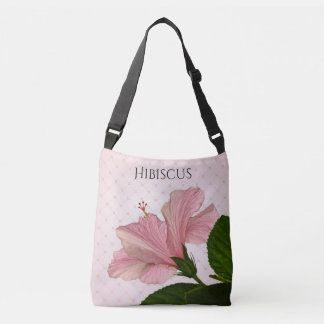Pink Hibiscus Floral Photography and Lace Crossbody Bag