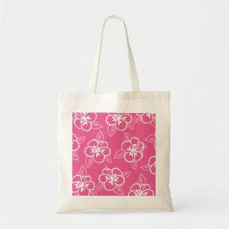 Pink Hibiscus Flower Print Tote Bag