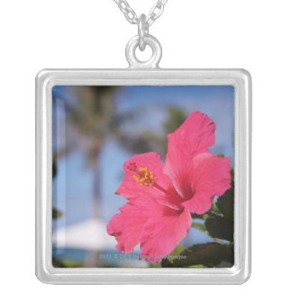 Pink hibiscus flower silver plated necklace