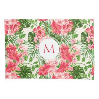 Pink Hibiscus Flower Tropical Palm Monogram PCase Pillowcase