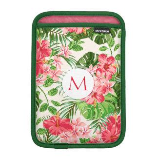 Pink Hibiscus Flower Tropical Palm Monogram Sleeve