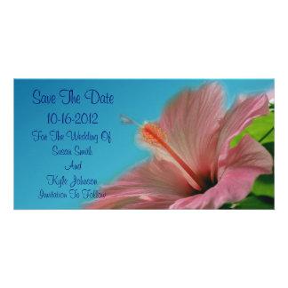Pink Hibiscus Flower Wedding Save The Date Custom Photo Card