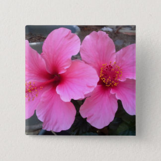 Pink Hibiscus Flowers 15 Cm Square Badge
