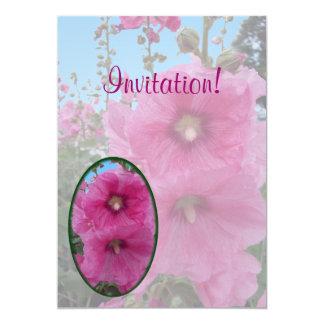Pink Hibiscus Flowers 13 Cm X 18 Cm Invitation Card