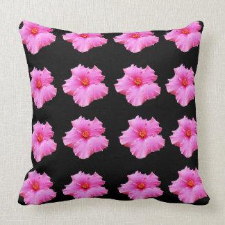 Pink Hibiscus Flowers On Black, Big Throw Cushion. Cushion