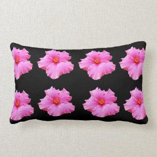 Pink Hibiscus Flowers On Black, Lumbar Cushion. Lumbar Cushion