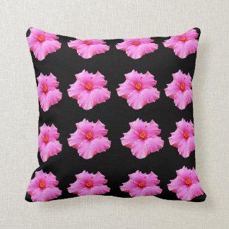 Pink Hibiscus Flowers On Black, Throw Cushion. Cushion