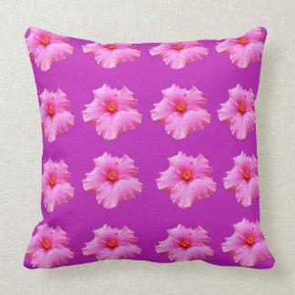 Pink Hibiscus Flowers On Magenta BigThrow Cushion. Cushion