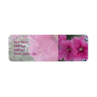 Pink Hibiscus Flowers Return Address Label