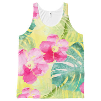 Pink Hibiscus Flowers & Tropical Banana Leaves All-Over Print Tank Top