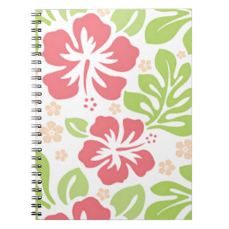 pink hibiscus Hawaiian floral pattern Spiral Note Book