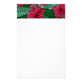 Pink Hibiscus Hawaiian Print Design Stationery