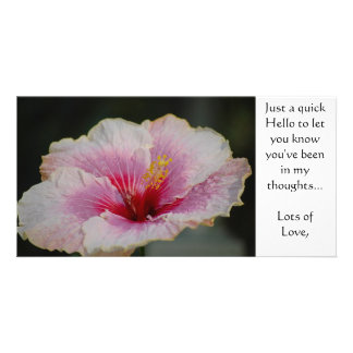Pink Hibiscus Hello Note Card Photo Card Template