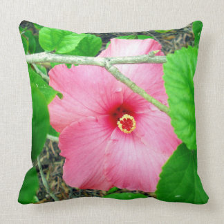 Pink Hibiscus Jungle, Big Throw Cushion. Cushion