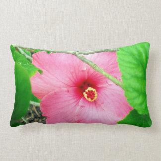 Pink Hibiscus Jungle, Lumbar Cushion. Lumbar Cushion