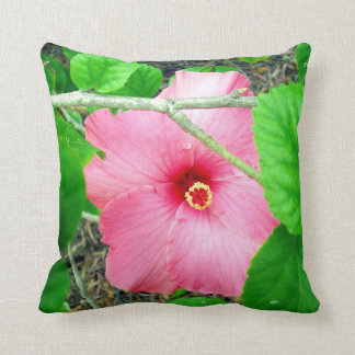 Pink Hibiscus Jungle, Throw Cushion. Cushion