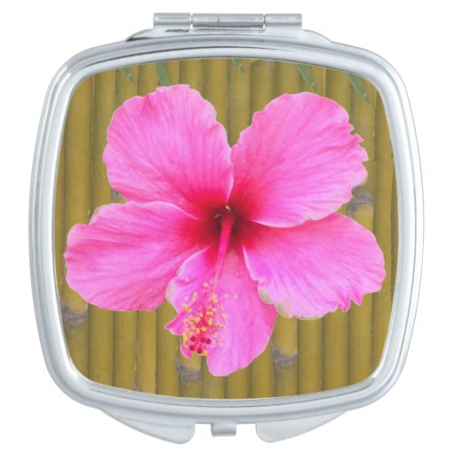 Pink Hibiscus on Bamboo Compact Mirror