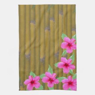 Pink Hibiscus on Bamboo Kitchen Towels