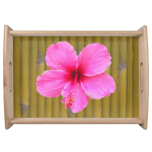 Pink Hibiscus on Bamboo Serving Tray