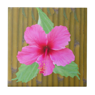 Pink Hibiscus on Bamboo Small Square Tile
