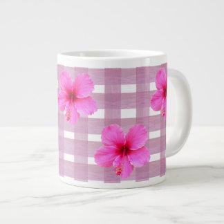Pink Hibiscus on Gingham Jumbo Mug